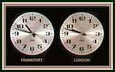 Analog 2 Time Zone Clock 12 Hour Dial - American Made