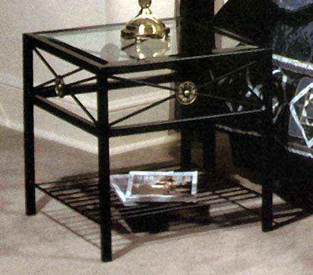Neoclassic Style End Table with Glass