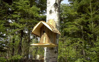 Bird House - Natural with Bark - American Made