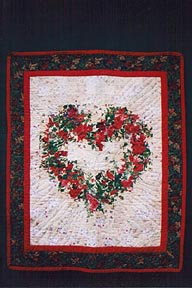 Watercolor Christmas Heart Quilt Made in America