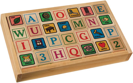 Maple Landmark ABC Blocks, Printed with Tray  Made in USA