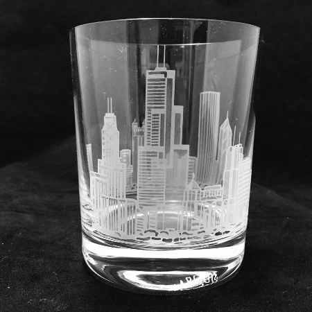Select Your City skyline deep etched Glasses, Set of 2