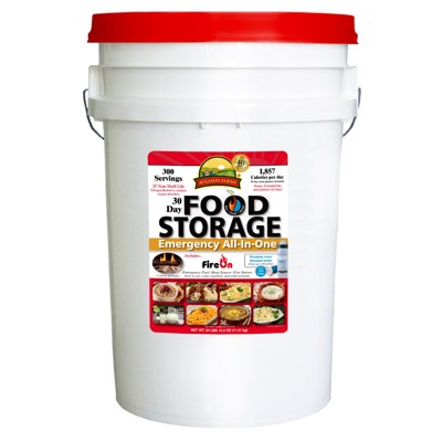 Emergency Food Storage All-In-One Pail, 30 Days, 1 Person American Made