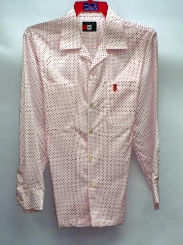 Mens White Shirt with Red Pin Dots Made in America