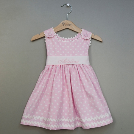 Polka Dot Pique Sash Dress Made in USA