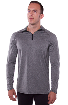 Heather Grey 1/4 Zip Shirt Made in USA by WSI Sports