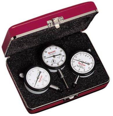 S253Z Dial Indicator Set, Set of 3 Inch Reading Dial Indicators: 25-111J, 25-131J and 25-441J, AGD Group 2, Jeweled Bearings, Lug-On- Center Back