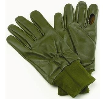 Mens Leather Green Shooter Glove Made in USA