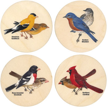 4 pc Peterson's Backyard Birds Coasters American Made
