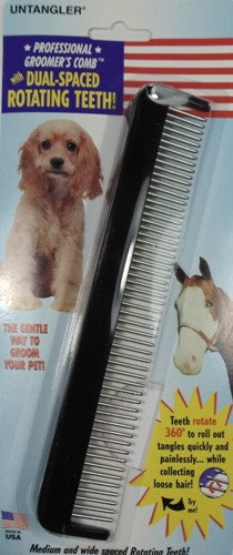 Professional Dog Comb - Dual Spaced rotating teeth