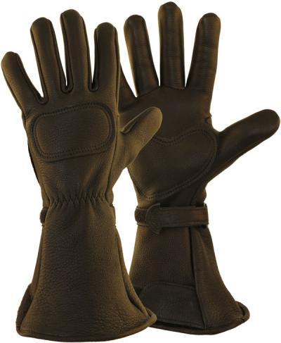 Lee Parks DeerSports® Black Leather Motorcycle Gloves Made in USA