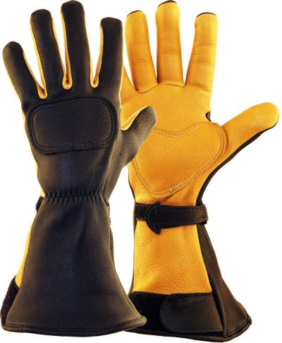 Lee Parks DeerSports® Black and Tan Leather Motorcycle Gloves