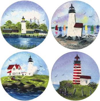 4 pc Lighthouses of New England Coasters Made in USA