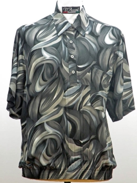 Grey Banded Bottom Shirt in Polyester Made in USA