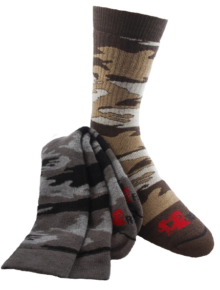 Performance Camo Mid-Calf Socks - American Made - 2 Prs