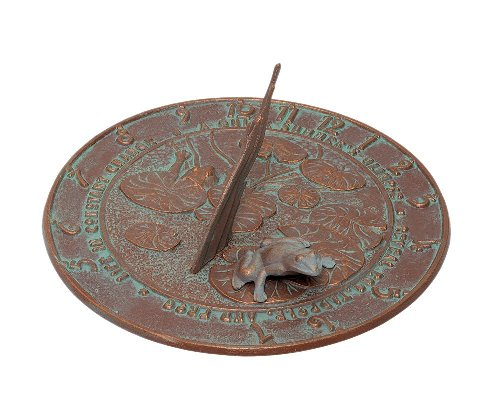 Frog Sundial American Made - Copper Verdigris