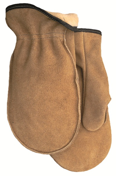 Lined Ranch Tan Side Split Leather Mitten Made in USA