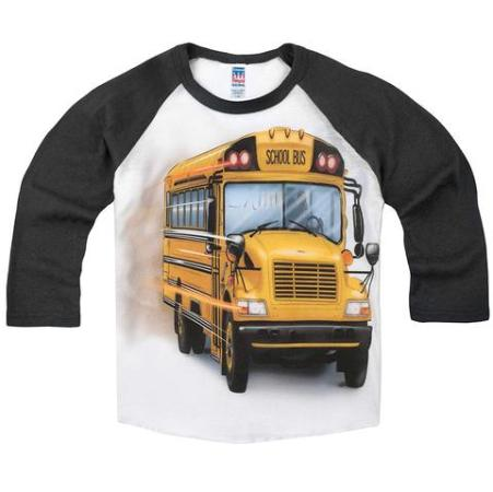 Little Boys' Big Yellow School Bus Raglan T-Shirt Made in USA