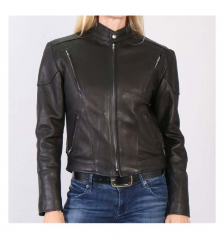 Ladies Classic Vented Leather Jacket - American Made