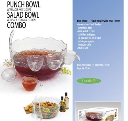 American Made Punch Bow/Salad Bowl Comboumbler Glasses, Set of 8