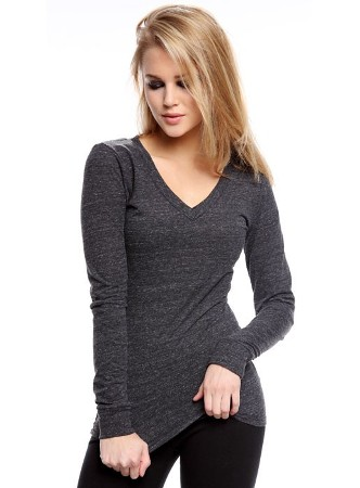 Triblend Long Sleeve V-Neck Top American Made