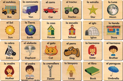 Teach+Play Tiles Made in America, Spanish/English
