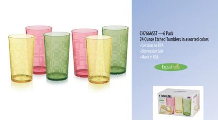 Set of 6 Etched Tumblers Made in USA - 24 oz in Assorted Colors
