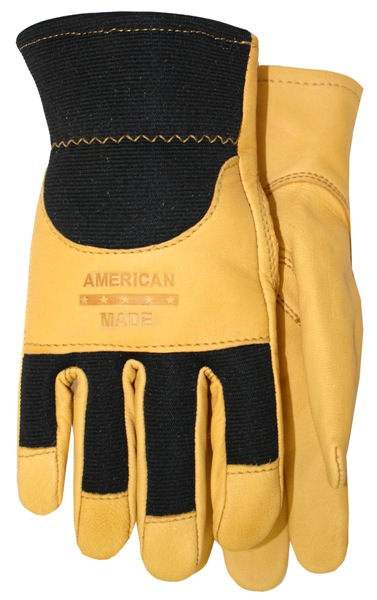 Top Grain Goatskin with Black Spandex Back Gloves Made in America