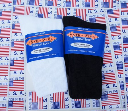 Women's Extra Wide Medical Crew Socks Made in USA - 3 Pairs