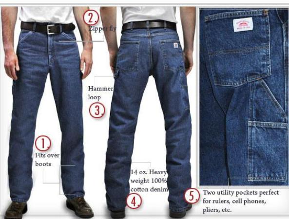Men's Five Pocket Stonewashed American Made Jeans