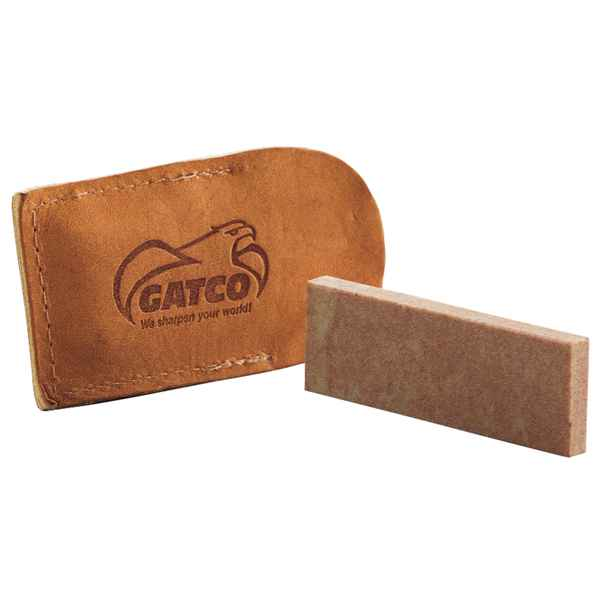 Gatco Sharpeners Natural Soft Arkansas Pocket Stone w/Leather Case, 3.00 in.
