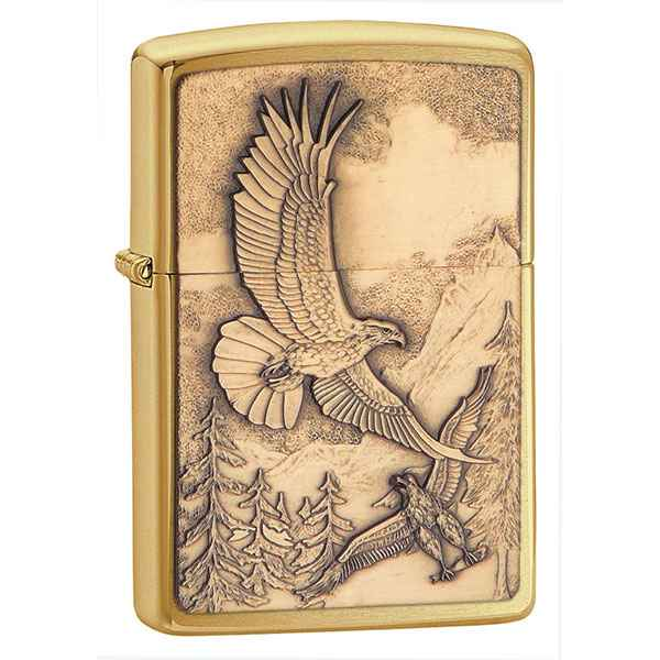 Zippo Brushed Brass, Where Eagles Dare Emblem