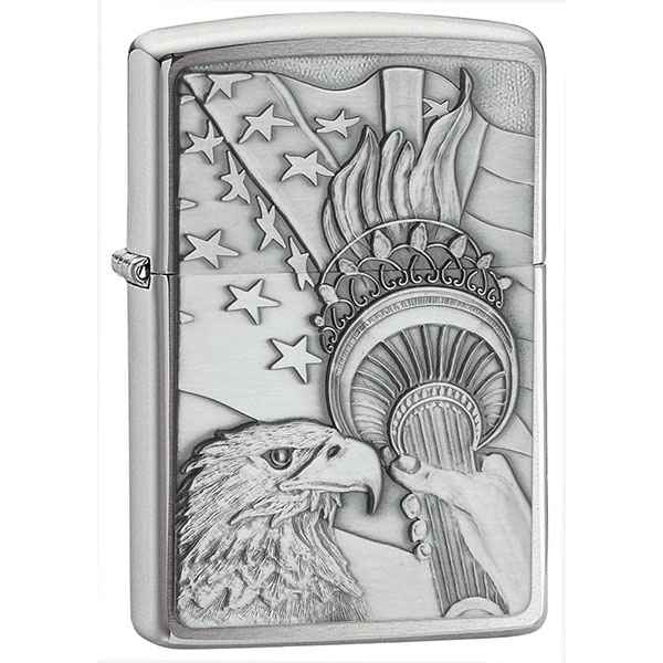 Zippo Brushed Chrome, Something Patriotic Emblem