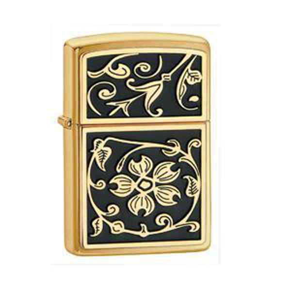 Zippo Brushed Brass, Gold Floral Flush