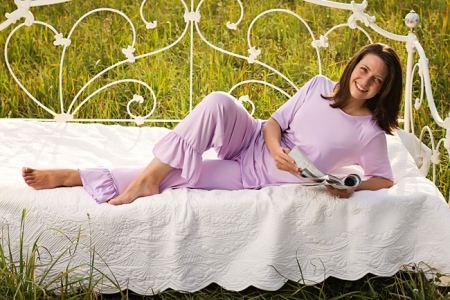 "Ladies Scoop Neck Top and Ruffle Pants Pajama Set Made in USA <FONT FACE=""Times New Roman"" SIZE=""+1"" COLOR=""#FF0000""> On Sale Now! </font>-"