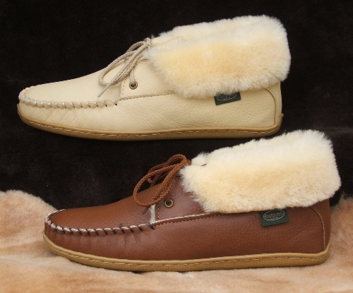 Footskins Womens 2-Eyelet Sheepskin Slippers - American Made