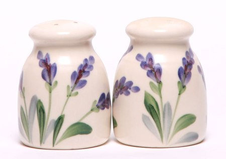 Handpainted Iris Salt and Pepper Shaker Set Made in USA