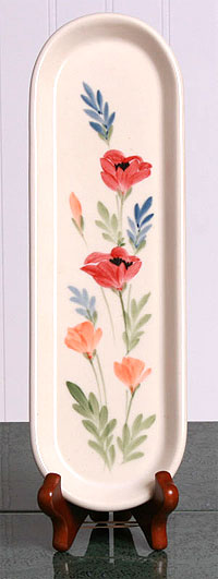 Ceramic Spoon Rest  Made in USA - Red Poppy