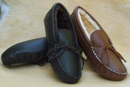 Footskins Mens Softsole Sheepskin Slippers Made in USA - Indoor Use