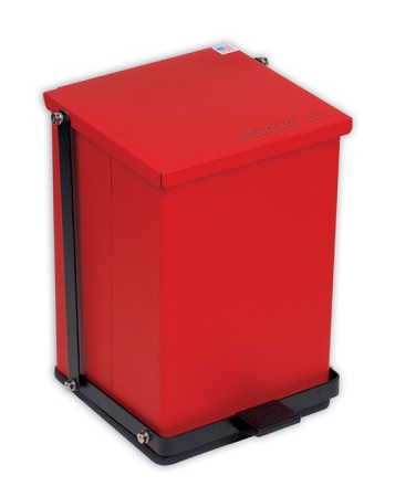 Detecto Red Baked Epoxy Steel Step-On Can Waste Receptacle - American Made