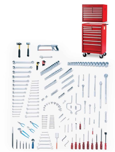 "280 Piece Fractional/Metric Master Set 1/4"", 3/8"", 1/2"" & 3/4"" Drives, including 27"" 9 Drawer Top Chest & 9 Drawer Roller Cabinet"