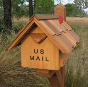 California Cedar Mailbox with Spring Flag Made in America