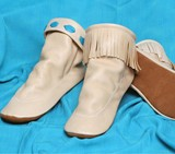 Footskins Deertan Teepee American made Boots Rubber Soles - Creme