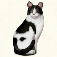 BLACK & WHITE CAT DOORSTOP AMERICAN MADE