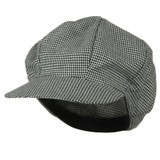 Houndstooth Newsboy Cap-White Black - American Made