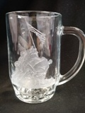Libbey beer stein with Handmade Etching – Made in USA