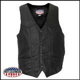 Men's USA Made Premium Leather Vest Made in USA