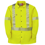 High Visibility Button-Down Dress Shirt with Reflective Material Made in America
