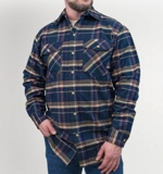 Flannel Shirt Made in USA in Navy Tan