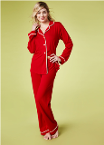 Bedhead Pajamas Solid Red Stretch L/S Classic PJ Made in America